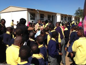Dan Gottlieb surrounded by students at the Khulani Special School during his 2013 visit.