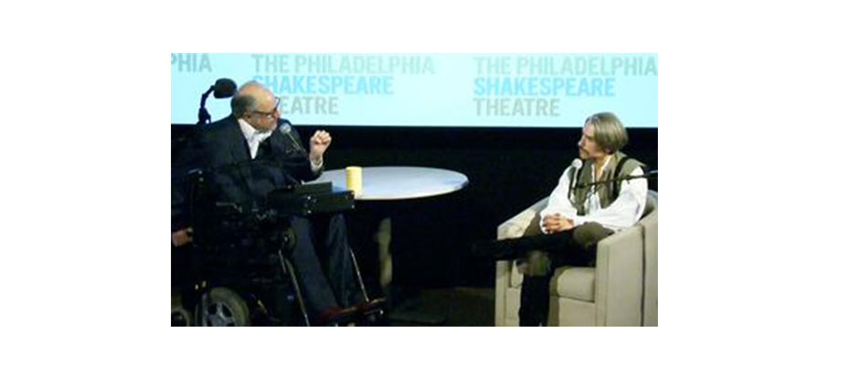 Dan Gottlieb conducts mock therapy session with Shakespeare's Iago from Othello, portrayed by J Hernandez of The Philadelphia Shakespeare Theatre, March 30, 2013 at WHYY-TV's Dorrance Commons.