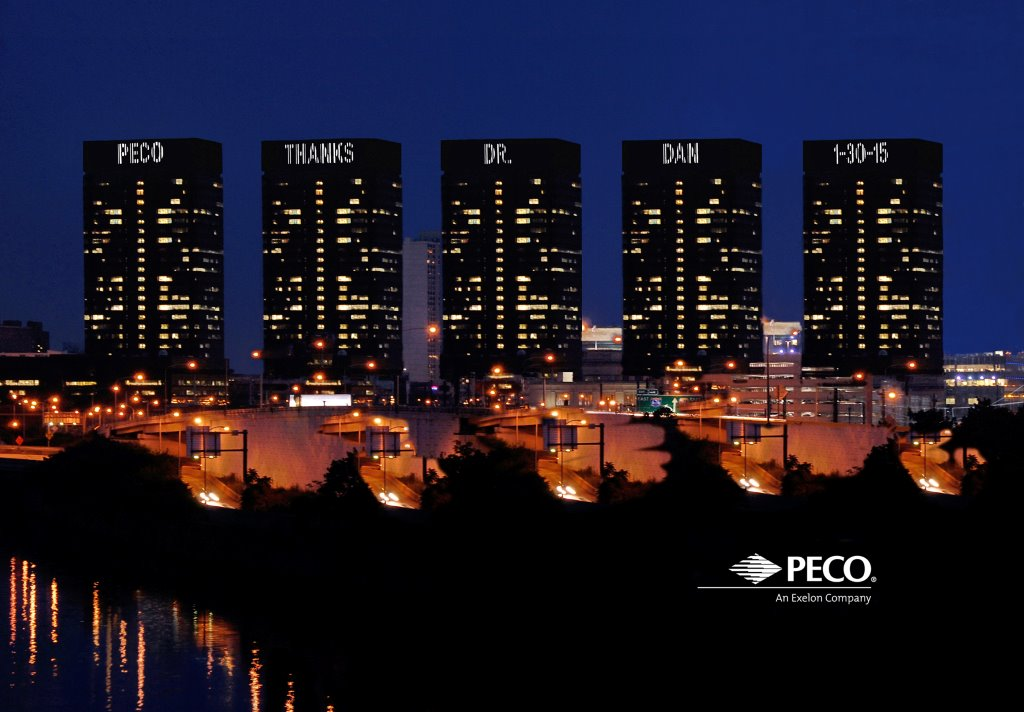 PECO thanked Dan for a recent presentation by putting his name up in lights.