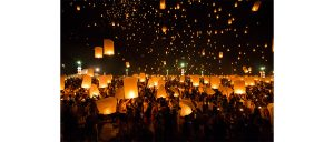 Chiang Mai, Thailand, October 25, 2014-- Floating lanterns at the Yeepeng or Loi Krathong Festival